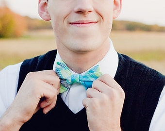 The Beau- men's freestyle preppy plaid bow tie- aqua and lime