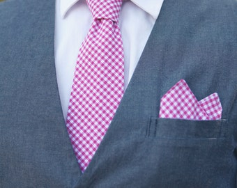 The Beau- men's fuchsia gingham necktie- 16 available shades