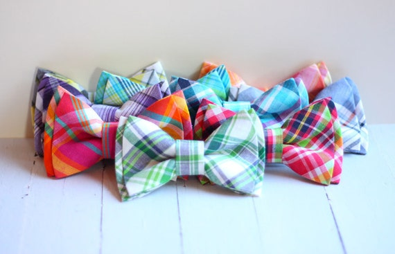 The Beau- preppy plaid double stacked bow ties for boys of all ages- choose your favorite shade