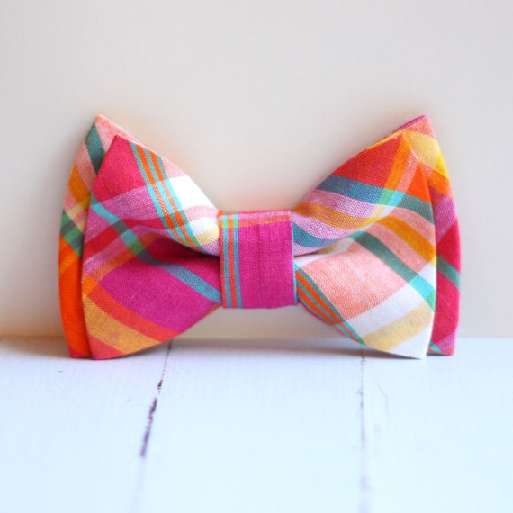The Beau- orange, teal, and fuchsia preppy plaid double stacked bow tie for boys and men of all ages