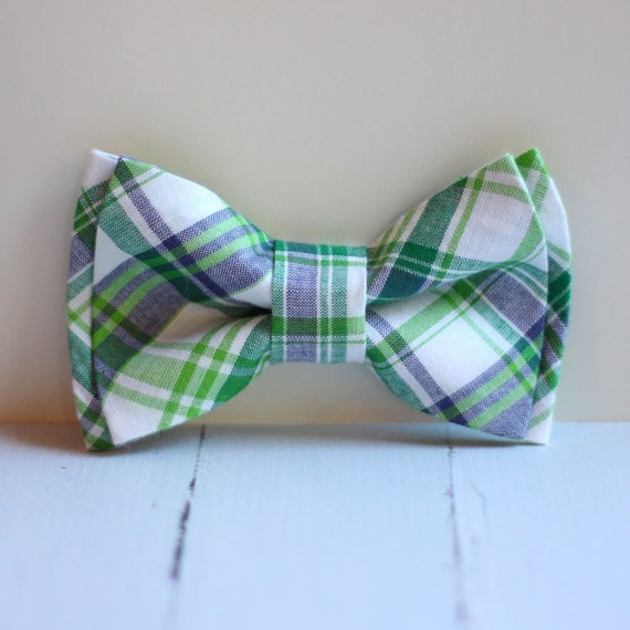 The Beau- blue and green preppy plaid double stacked bow tie for boys and men of all ages