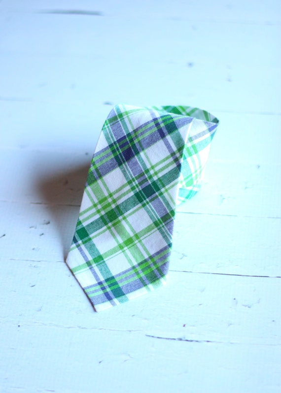 The Beau- blue and green preppy plaid necktie for boys of all ages