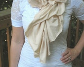 Ruched Jersey Scarf in Ivory