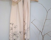 Screen Printed Jersey Scarf in Ivory