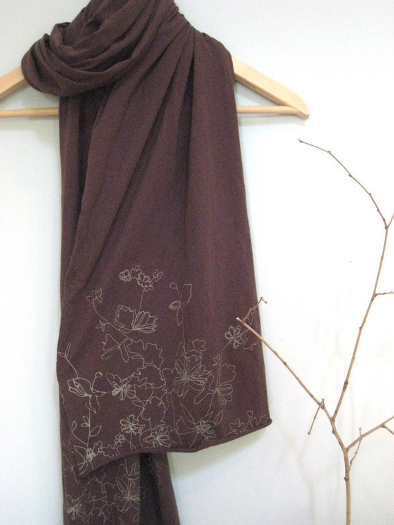 Screen Printed Jersey Scarf in Brown