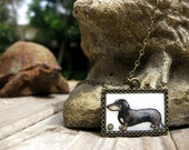 Long Little Doggy Dachshund - Hand Painted Necklace