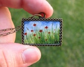 Red Poppies in Grassy Field Hand Painted Necklace