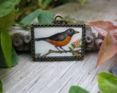 Curious Robin Hand Painted Necklace