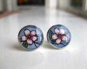 Cherry Blossom Flower Earrings - Original Watercolor Hand Painted Earrings, Spring Blooms