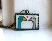Duck Love Necklace - Hand Painted Pendant Necklace, Original Art - Valentines Day