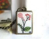 Hand Painted Necklace  - Simply Beautiful Flowers Original Watercolor Hand Painted Pendant Necklace