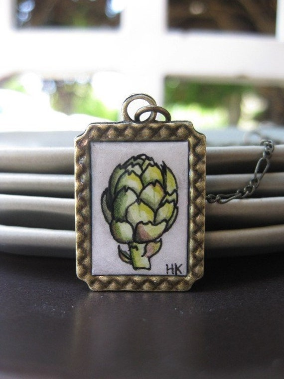 Simply Artichoke Painted Necklace