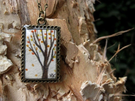 Rustic Fall Tree Hand Painted Necklace