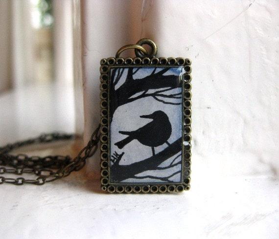 Blackbird Silhouette Necklace - Original Watercolor Art Hand Painted Pendant Necklace, Bird Necklace