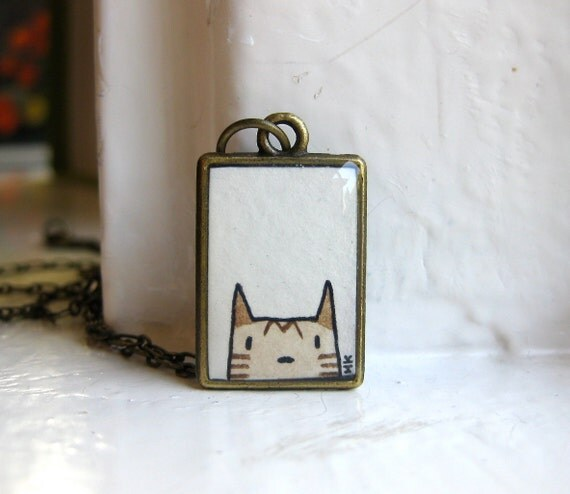 Cat Peek Necklace - Original Watercolor Hand Painted Necklace, Art Pendant, Cat Love - Gifts under 30 Gifts under 50
