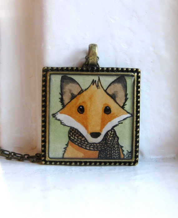 Mr. Fox Wears His New Houndstooth Scarf - Original Hand Painted Necklace, Fox Pendant