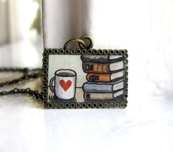 Hand Painted Necklace - Books and Coffee Original Watercolor Hand Painted Pendant Necklace, Book Necklace, Valentines Day Gift