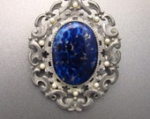Antique Blue Agate Brooch