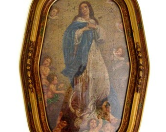 Antique Oil Painting Immaculate Conception Painting on a Gunny Sack Religious Art