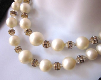 Vintage Crystal Necklace Faux White Pearls Crystal Rondelles