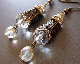 Crystal Dangle Earrings Art Nouveau Style Formal Wedding Jewelry Vintage Crystal