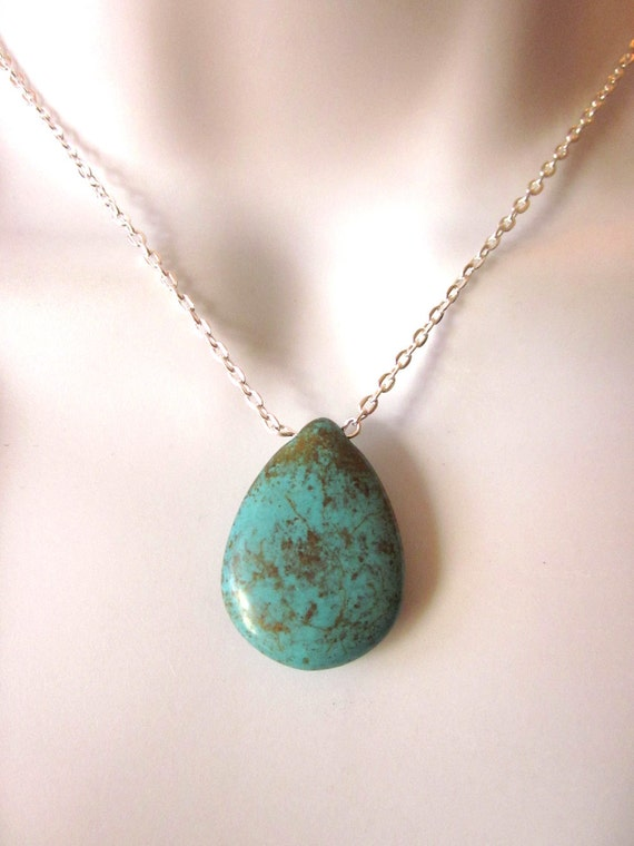 Turquoise Magnesite Necklace Stone Jewelry Teardrop Pendant