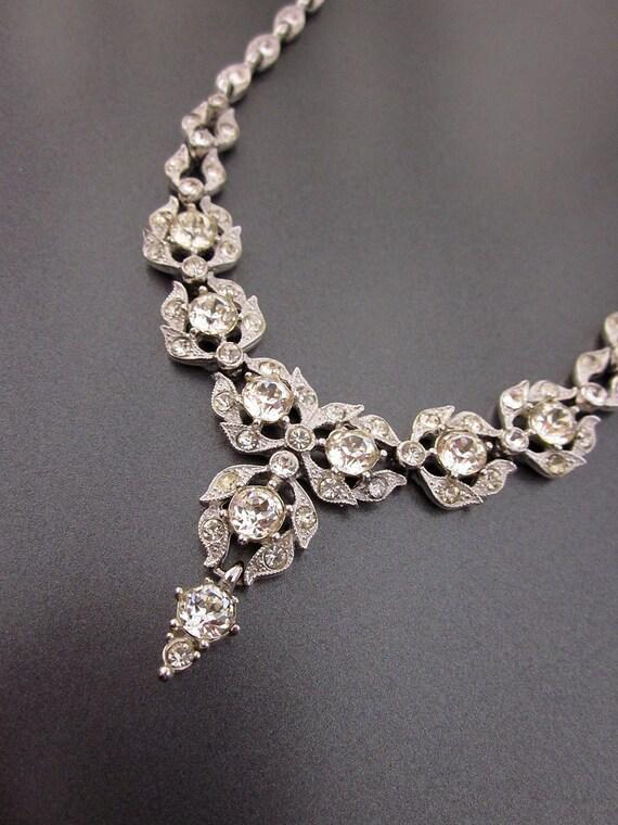 Vintage Bogoff Crystal Necklace Bridal Jewelry