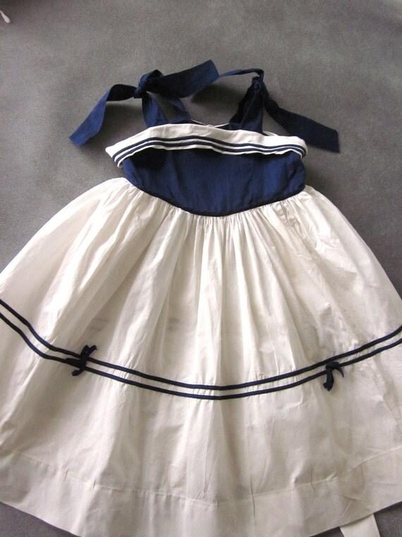 Child's Vintage Linen Sailor Dress