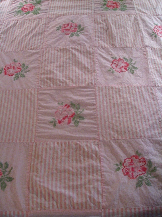Vintage Embroidered Bed Spread Country Bedding Shabby Chic Decor Quilt Top