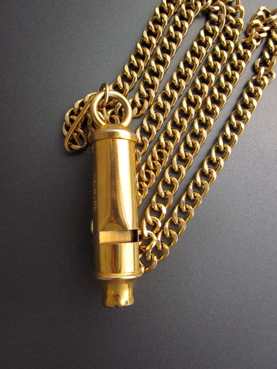 Golden Whistle with Heavy Chain