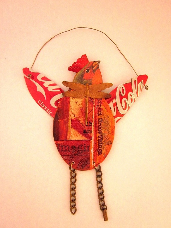 Bird Ornament Mixed Media Assemblage RESERVED for Marsha