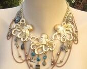 Steampunk PIRATE bridal swarovski 7 seas octopus gear necklace choker