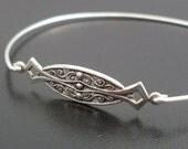 Silver Bangle Bracelet Alyanna - Silver Jewelry, Silver Bracelet, Silver Dainty Bracelet, Thin Silver Bracelet, Delicate Silver Bracelet