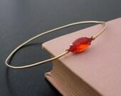 Orange Rhinestone Bangle Bracelet Corinna  - Gold Tone, Burnt Orange Bracelet, Orange Rhinestone Bracelet, Orange Rhinestone Jewelry