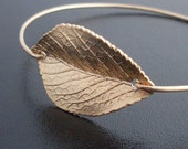 Leaf Bracelet, Gold Leaf Jewelry, Fall Leaf Jewelry, Nature Jewelry, Nature Bracelet, Gold Bangle Bracelet, Leaf Bangle Bracelet