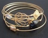 Before the Dawn - Stacking Bangle Bracelet Set, Black, Gray, Pearl & Gold Bangle Set, Gold Bracelet Set, Stackable Bracelets, Bracelet Stack