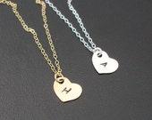 Set of 4 Bridesmaid Monogram Necklaces, Bridesmaid Initial Necklaces, Personalized Bridesmaid Necklaces, Heart Monogram Bridesmaid Necklaces
