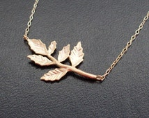 Gold Leaf Necklace, Gold Branch Necklace, Fall Leaf Necklace, Fall Necklace, Bridesmaid Necklace, Autumn Leaf Necklace, Autumn Necklace