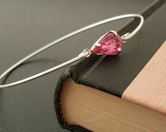 Pink Rhinestone Bracelet, Madlaina - Thin Silver Bangle, Pink Rhinestone Teardrop Bracelet, Pink Tear Drop Bracelet, Pink Rhinestone Jewelry