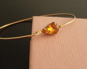 Yellow Amber Rhinestone Bracelet, Sabina - Gold, Yellow Rhinestone Bracelet, Yellow Rhinestone Jewelry, Tiny Bracelet, Dainty Bracelet
