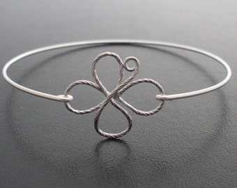 4 Leaf Clover Bracelet, Sterling Silver Band, 4 Leaf Clover Bangle, Luck, Irish, Lucky Charm Bracelet, Good Luck, 4 Leaf Clover Jewelry