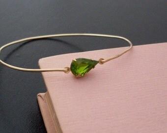 Olive Green Bracelet, Sally, Tear Drop Bracelet, Teardrop Bangle, Pear Bracelet, Teardrop Bracelet, Teardrop Jewelry, Olive Green Jewelry