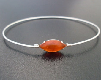Fire Orange Bangle Bracelet Mareika, Silver, Orange Stone Jewelry, Orange Fire Bracelet Fire Jewelry, Orange Bracelet Bangle, Orange Jewelry