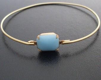 Turquoise Bangle Bracelet, Anya - Gold, Turquoise Stone Bracelet, Bangle Bracelet with Stone, Blue Turquoise Bracelet, Turquoise Jewelry