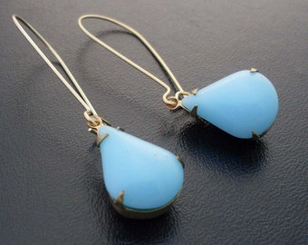 Custom Earrings - Gold and Turquoise Earrings, Ocean Blue Earrings, Turquoise and Gold Earrings, Long Turquoise Earrings, Blue Drop Earrings