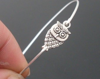 Little Owl Bracelet, Cute Owl Jewelry, Silver Bangle Bracelet, Silver Jewelry, Silver Bracelet, Owl Bangle Bracelet by Frosted Willow