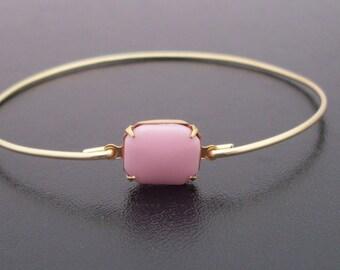 Pink Glass Bangle Bracelet, Barbara - Gold, Light Pink Jewelry, Light Pink Bracelet, Light Pink Bangle Bracelet, Pink Glass Bracelet