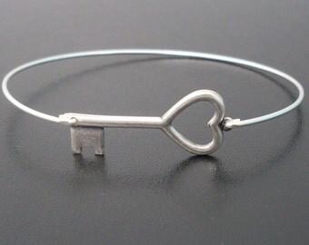 Silver Key Bracelet, Heart Key Bangle Bracelet, Skeleton Key Bracelet, Skeleton Key Jewelry, Original Jewelry, Silver Key Jewelry