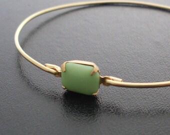Bangle Bracelet Selina - Gold Tone, Green