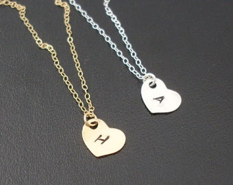 Set of 4 Bridesmaid Monogram Necklaces, Bridesmaid Initial Necklaces, Personalized Bridesmaid Necklaces, Heart Monogram Bridesmaid Necklaces